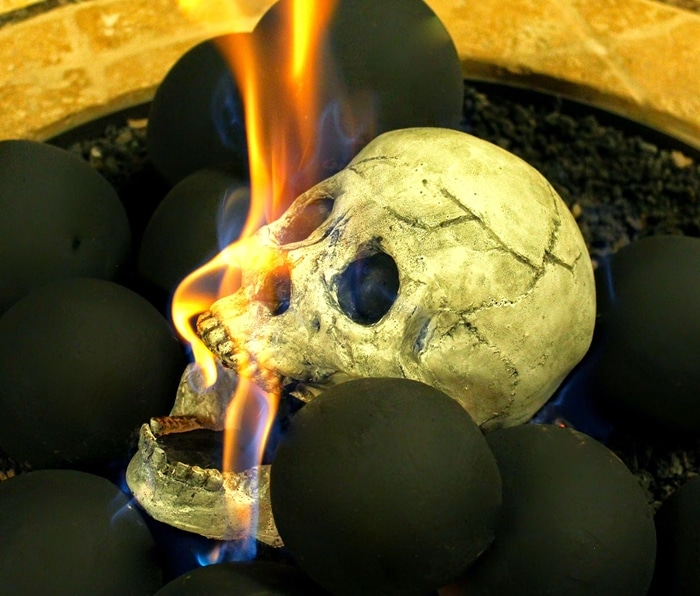 Creepy Human Skull Fireplace Logs