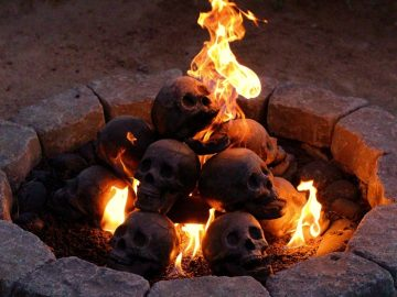 Human Skull Fireplace Logs