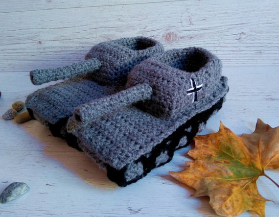 Army Tank Crochet Slippers