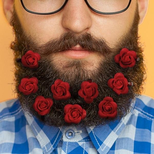 Clip-On Beard Rose Bouquet