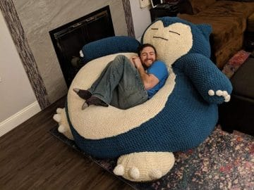 Snorlax Hand-Knit Bean Bag