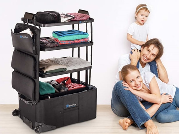 Luggage With Built-In Shelves