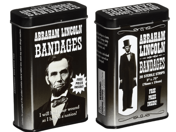 Abraham Lincoln Bandages Container