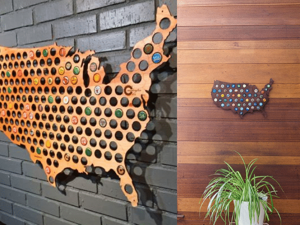 Wall displays of USA bottle cap maps