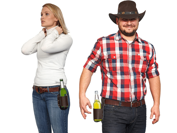 Guy and girl with leather beer holsters on their belts