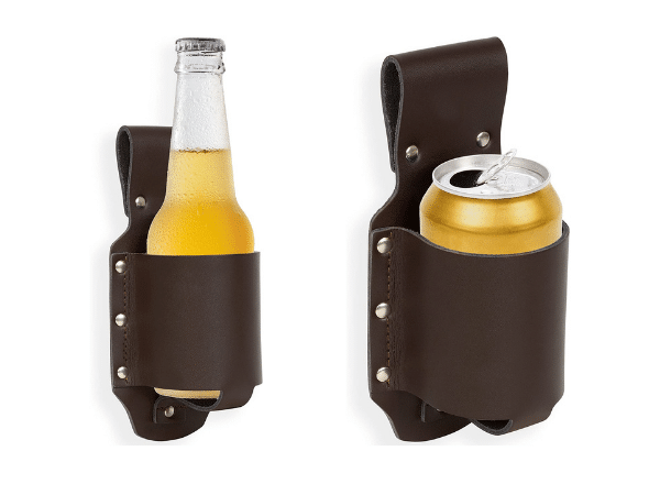 Beer holster holding a beer can and a beer bottle