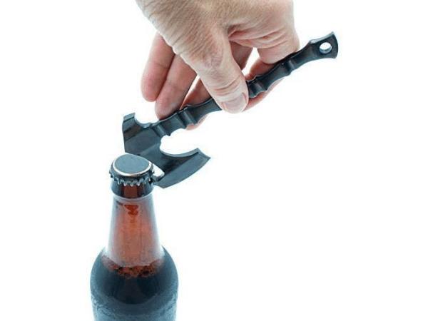 Viking Axe Bottle Opener opening a bottle of beer