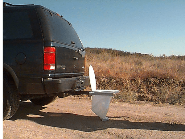 Portable Toilet Seat in a Field