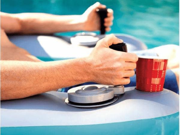 Joystick lets you drive the motorized pool lounger